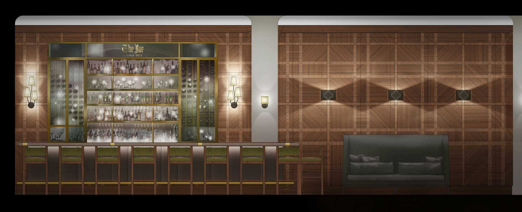AutoCad interior Elevation painted in Photoshop architectural graphics renderings project presentation