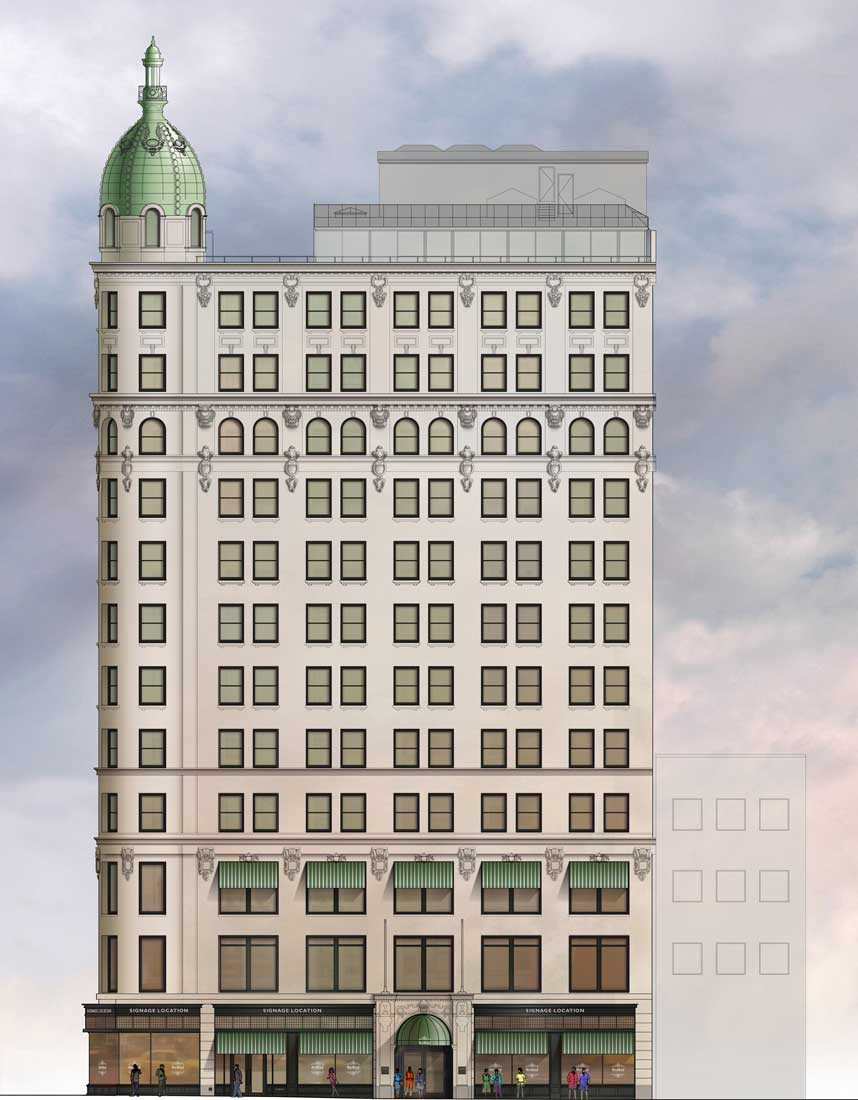 AutoCad Exterior Elevation painted in Photoshop architectural graphics renderings presentation