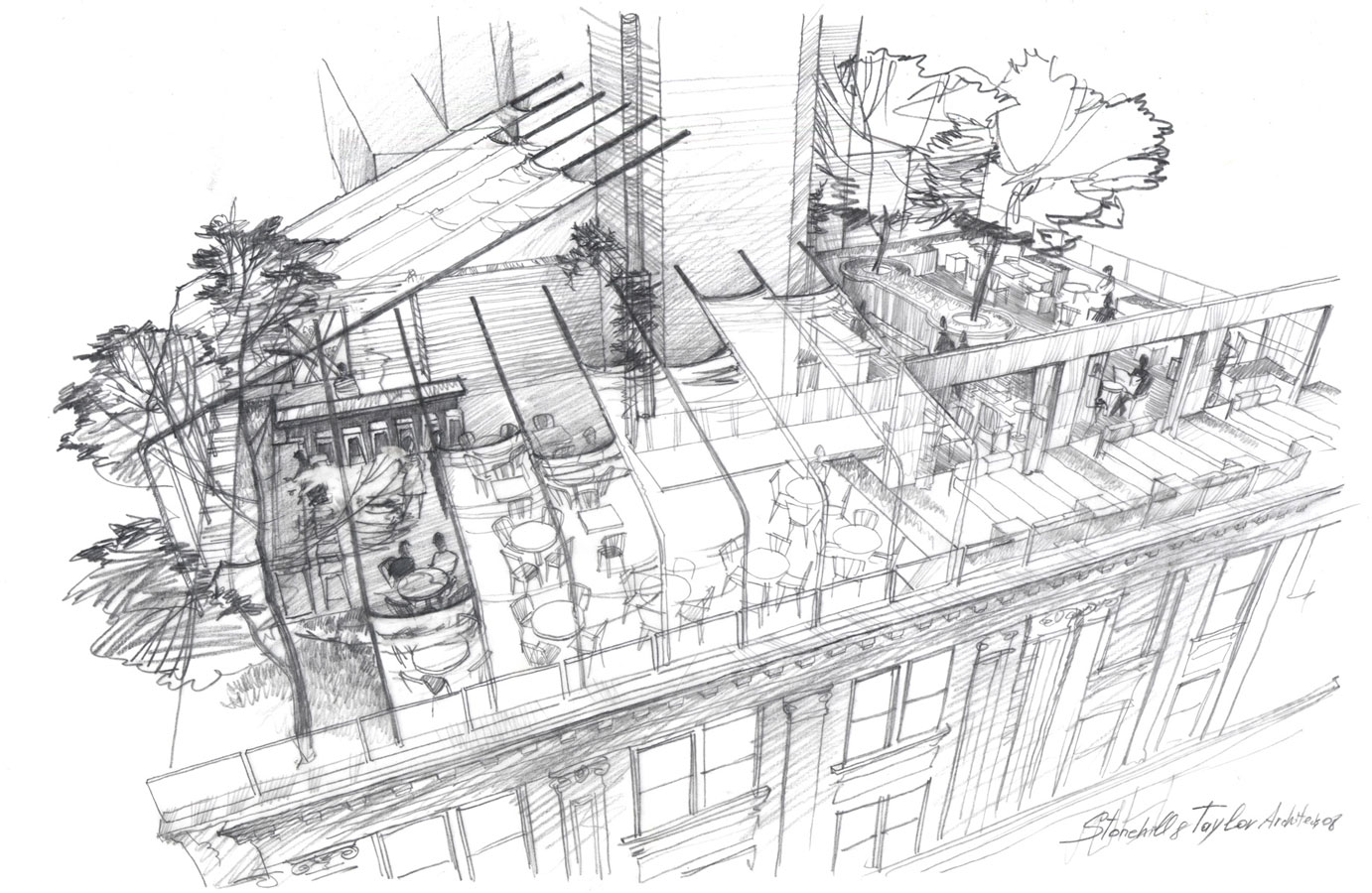 Architectural Rendering graphics freehand Sketch Pencil drawing architecture illustration hotel roof restaurant visualization artist Shalumov Шалум Шалумов архитектор художник