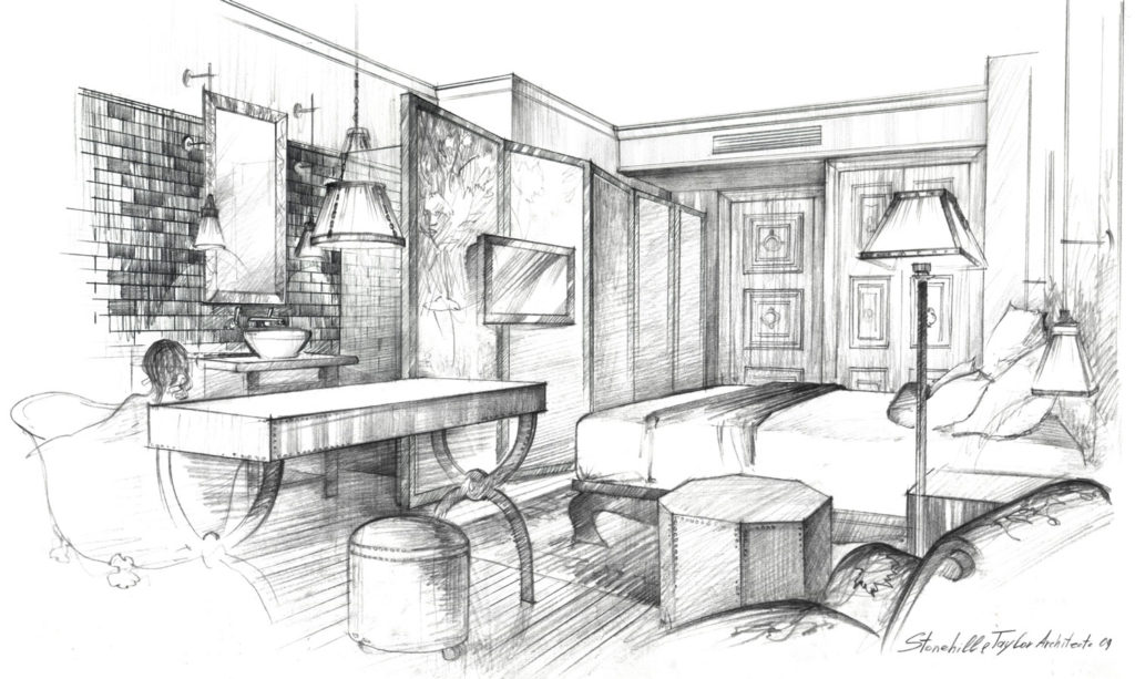 Architectural Rendering graphics free hand Sketch Pencil drawing architecture illustration interior NoMad Hotel guest room visualization artist Shalumov Шалум Шалумов архитектор художник