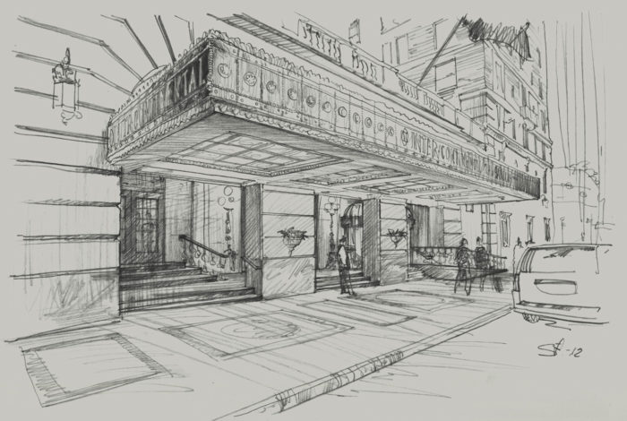Architectural hand rendering graphics pencil concept sketch architecture illustration hotel marquee visualization artist Shalum Shalumov Шалум Шалумов архитектор художник