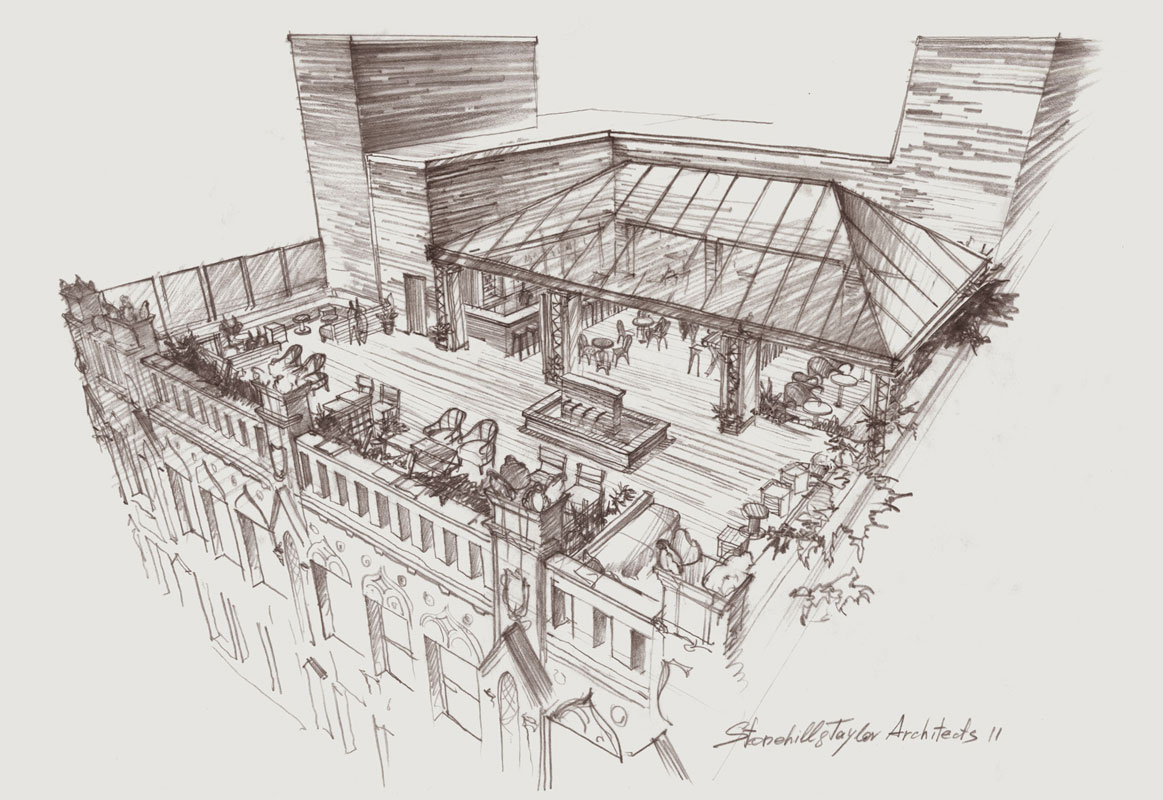 Architectural graphics hand drawing rendering architecture presentation pencil concept sketch project illustration hotel roof restaurant New York visualization artist Shalum Shalumov Шалум Шалумов архитектор художник