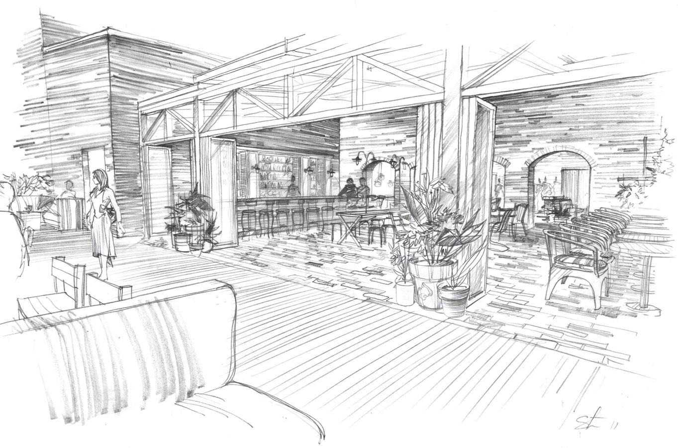 Architectural freehand pencil rendering architectural graphics concept sketch architecture presentation illustration free hand hotel roof restaurant New York visualization artist Shalum Shalumov Шалум Шалумов архитектор художник