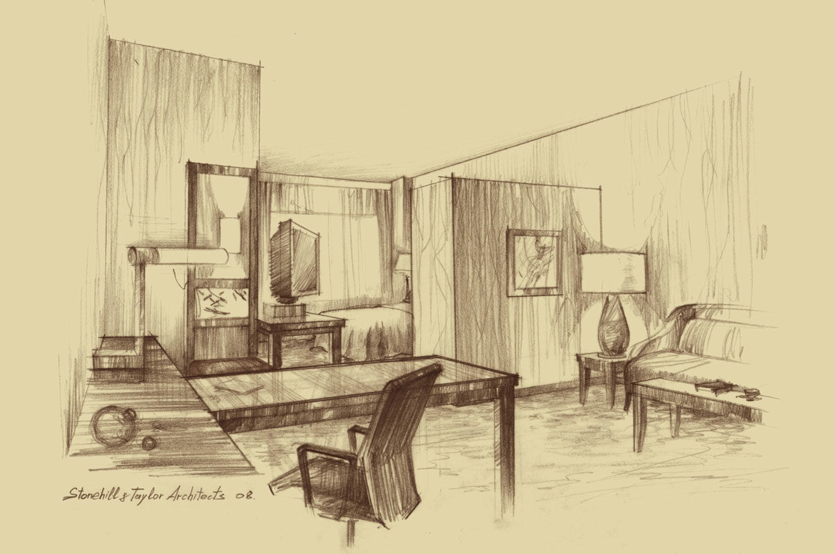Architectural freehand pencil rendering concept sketch architecture illustration free hand by Shalumov interior design hotel room New York Шалум Шалумов архитектор художник
