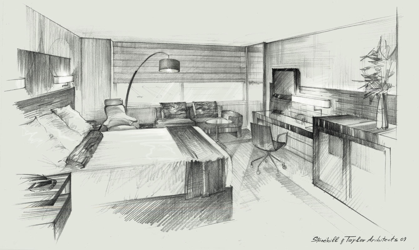 Architectural freehand pencil rendering concept sketch architectura presentation illustration by Shalumov interior design hotel room New York