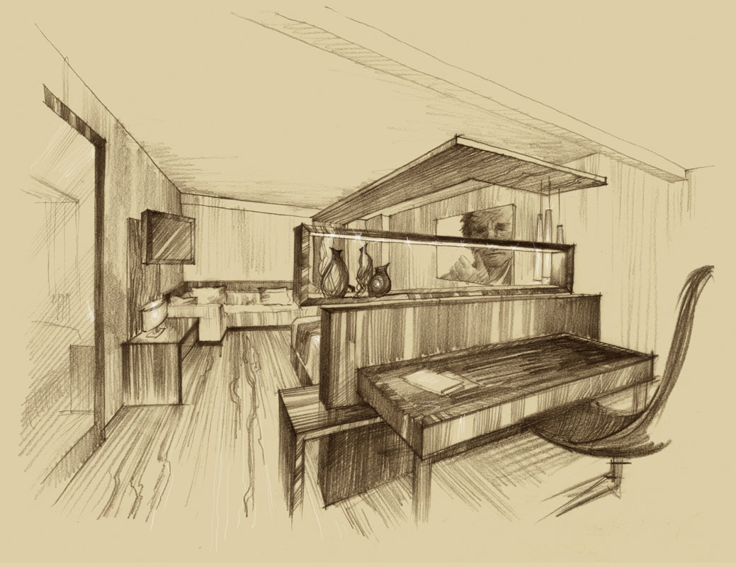 Architectural freehand pencil rendering concept sketch architecture illustration visualization architectural graphics presentation artist Shalum Shalumov interior design hotel room New York