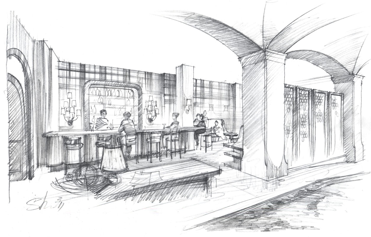 Architectural freehand pencil rendering concept sketch architecture illustration interior design hotel bar restaurant New York visualization artist Shalum Shalumov