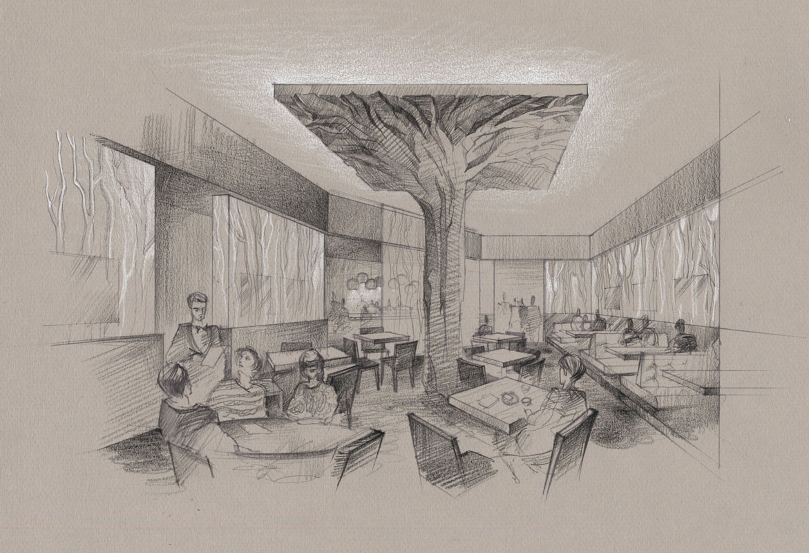 Architectural Rendering freehand Sketch Pencil drawing architecture illustration hotel restaurant design idea visualization artist Shalumov