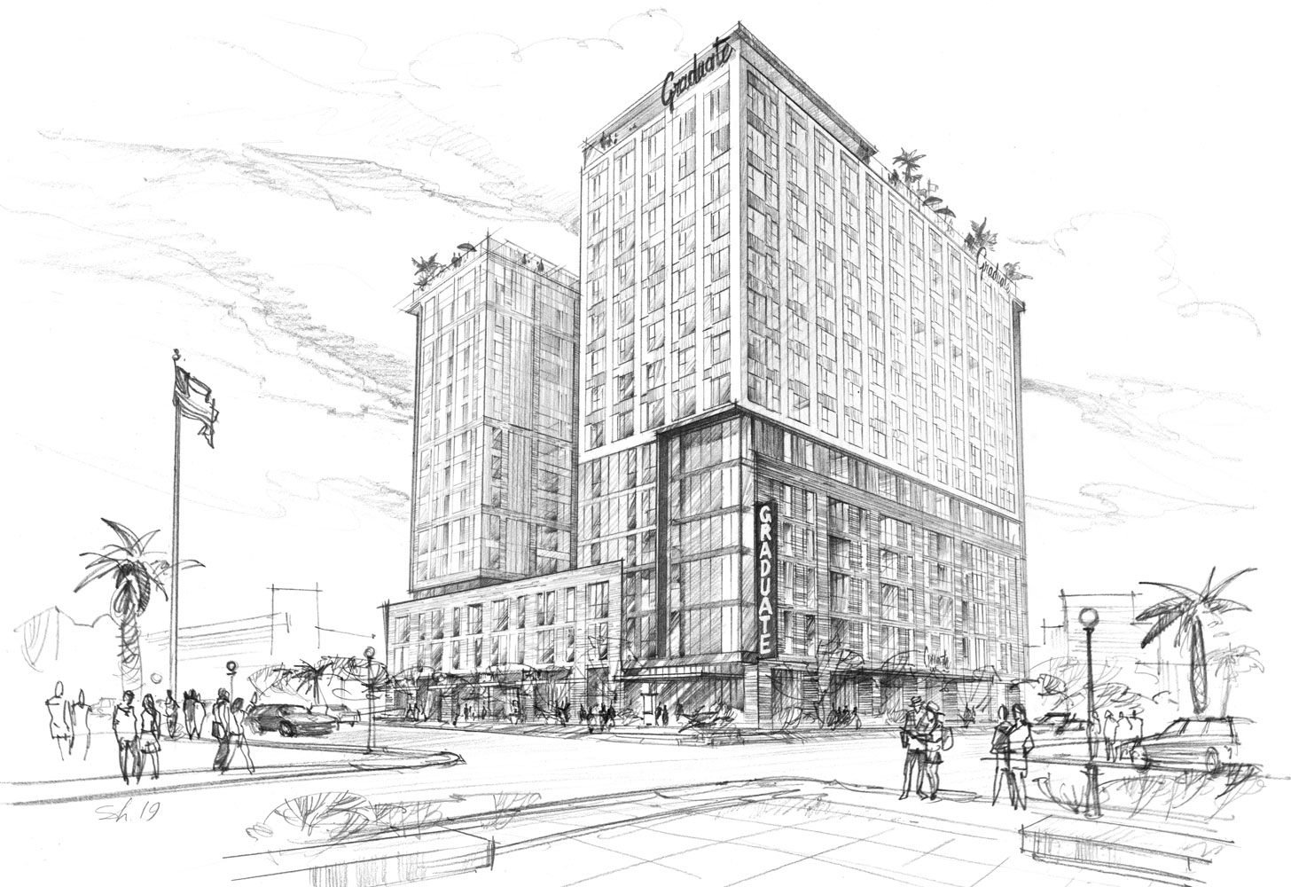 Architectural visualization freehand rendering pencil hotel sketch hand drawing architecture illustration