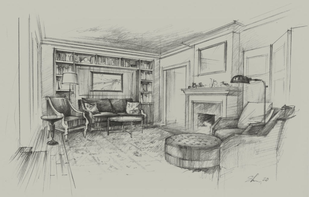 Living room sketch Architectural freehand rendering pencil hand drawing architecture illustration Interior