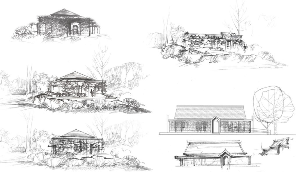 Architectural visualization freehand rendering pencil Mikvah sketch hand drawing architecture illustration